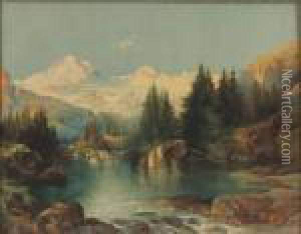 View Of The Rocky Mountains Oil Painting - Thomas Moran