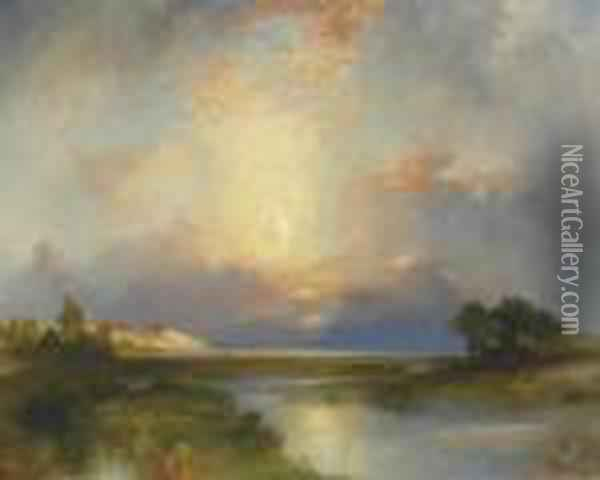 East Hampton, New York Oil Painting - Thomas Moran