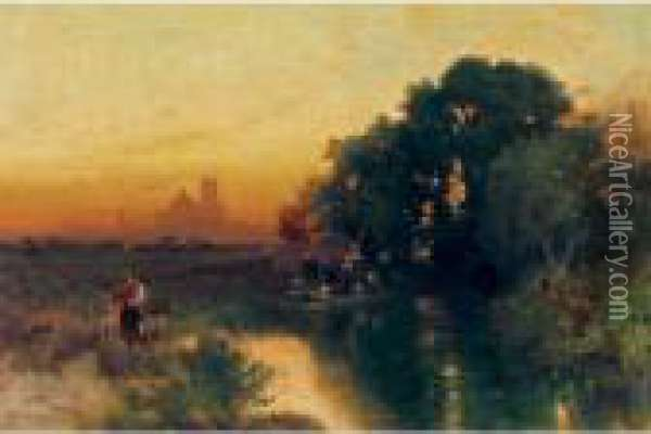 Mexican Sunset Oil Painting - Thomas Moran