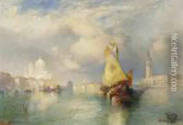 A View Of The Doge's Palace Oil Painting - Thomas Moran
