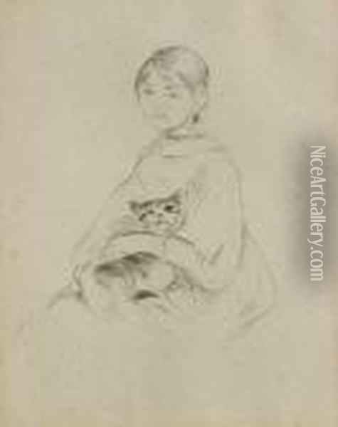 Fillette Au Chat (julie Manet) Oil Painting - Berthe Morisot
