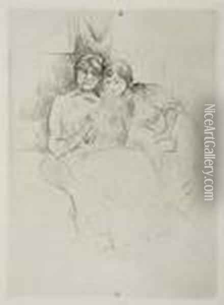 Three Drypoints. Oil Painting - Berthe Morisot
