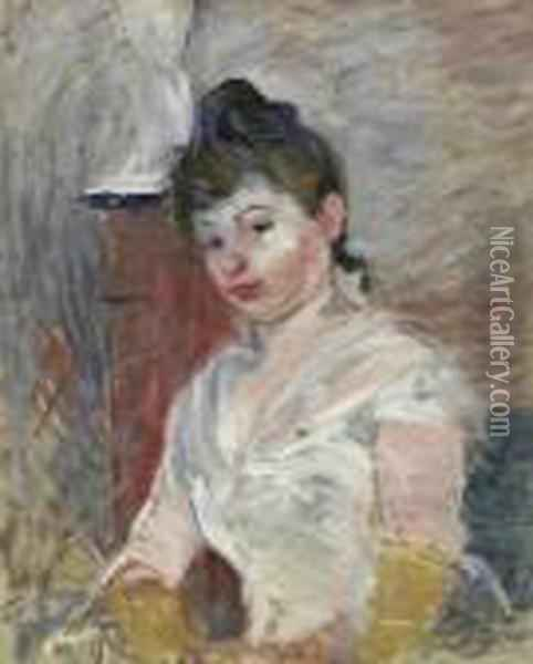 Jeune Fille En Blanc. 1891.  Portrait Of A Sitting Young Lady In A White Dress. In The Background A  Pillar With Sculpture. Signature Stamp Bottom Right: Berht Morisot Oil Painting - Berthe Morisot