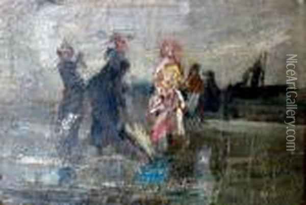 Figures On The Shore Oil Painting - Berthe Morisot