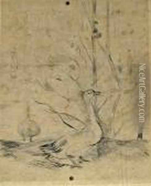 Les Canards Oil Painting - Berthe Morisot
