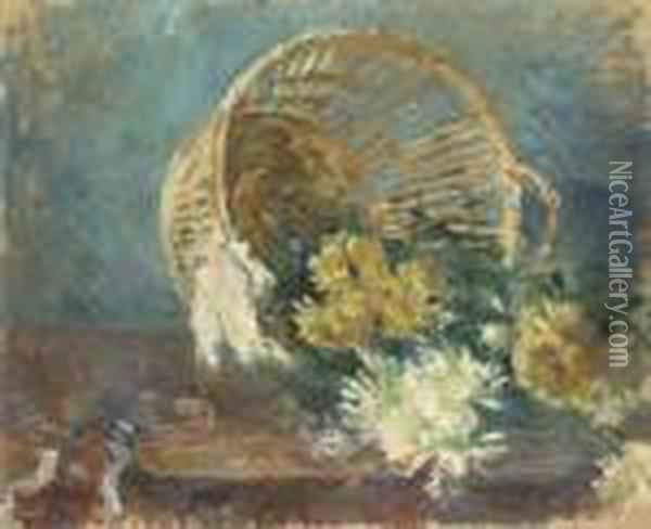 Chrysanthemes Or Corbeille Renversee Oil Painting - Berthe Morisot