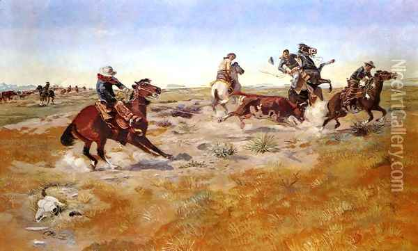 The Judith Basin Roundup Oil Painting - Charles Marion Russell