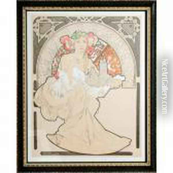 Lovely Protector Oil Painting - Alphonse Maria Mucha