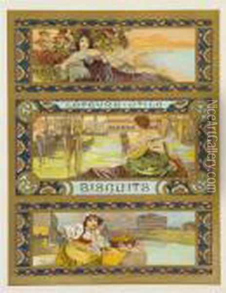 Lefevre-utile Biscuits Oil Painting - Alphonse Maria Mucha