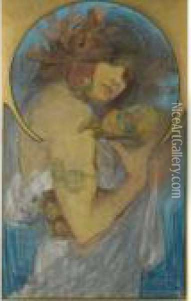 Study For A Poster: Fruit Oil Painting - Alphonse Maria Mucha