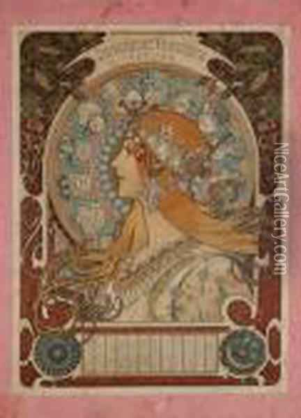 Zodiaque, Calendrier 1899 Oil Painting - Alphonse Maria Mucha