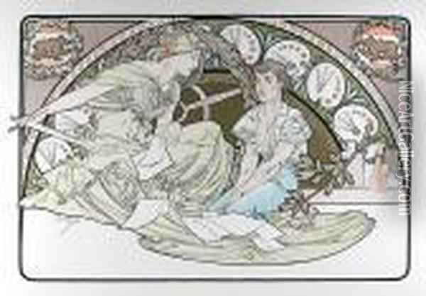 Heavenly Women, 18 Oil Painting - Alphonse Maria Mucha