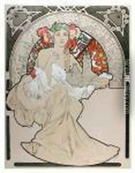 Lovely Protector, 70 Oil Painting - Alphonse Maria Mucha