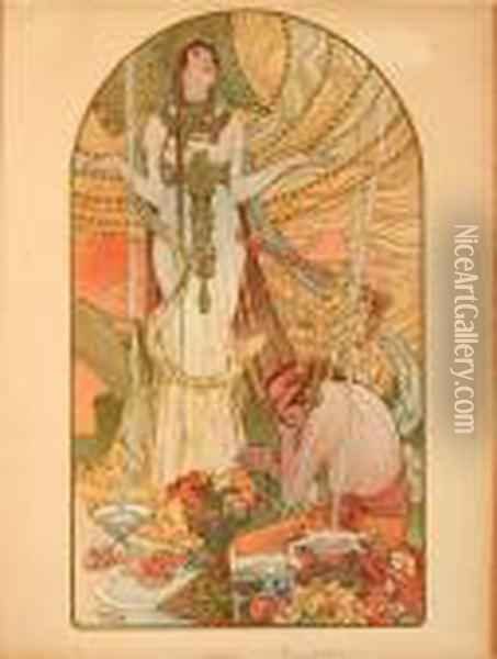 Incantation Oil Painting - Alphonse Maria Mucha