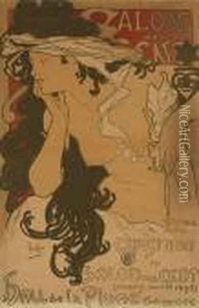 Salon Des Cent Oil Painting - Alphonse Maria Mucha