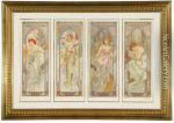 Four Times Of A Day Oil Painting - Alphonse Maria Mucha