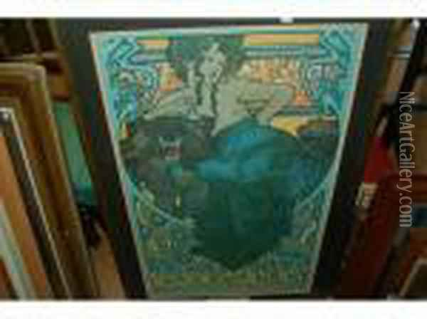 Including Two Framed Specimen Of Printing Types Oil Painting - Alphonse Maria Mucha