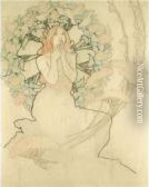 Study For Monte Carlo Oil Painting - Alphonse Maria Mucha
