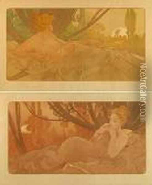 Dawn And Dusk Oil Painting - Alphonse Maria Mucha