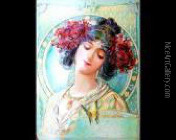 Art Nouveau Maiden With Flowers Oil Painting - Alphonse Maria Mucha