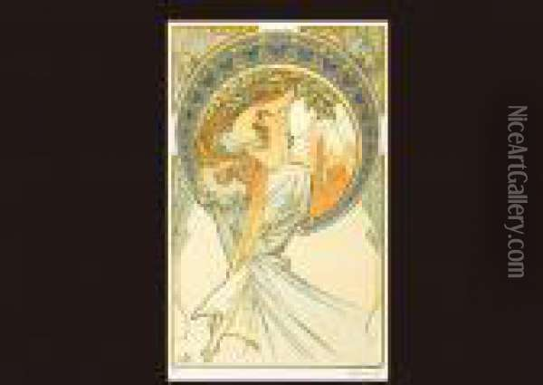Poem From The Four Arts Oil Painting - Alphonse Maria Mucha