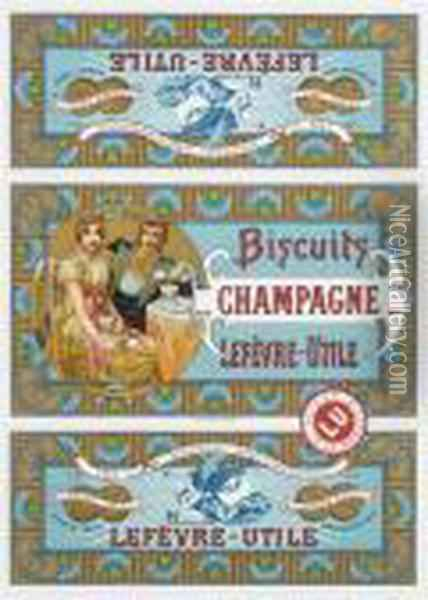 Biscuits Champagne Oil Painting - Alphonse Maria Mucha
