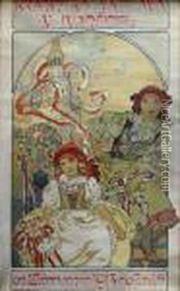 Poster Of Landscaper's Exhibition In Ivancice Oil Painting - Alphonse Maria Mucha