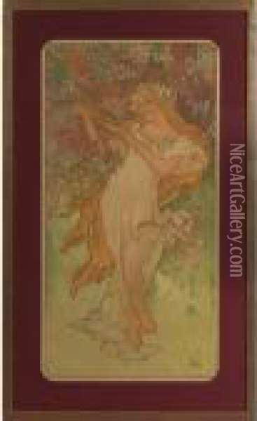 The Four Seasons Oil Painting - Alphonse Maria Mucha