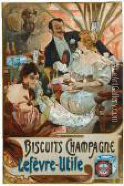 Biscuits Champagne Lefevre-utile Oil Painting - Alphonse Maria Mucha