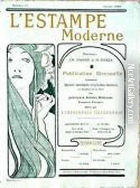 Mucha- Cover For L'estampe Moderne- Lithograph, 1899, Very Good Condition. 16 1/4 X 12'' Oil Painting - Alphonse Maria Mucha