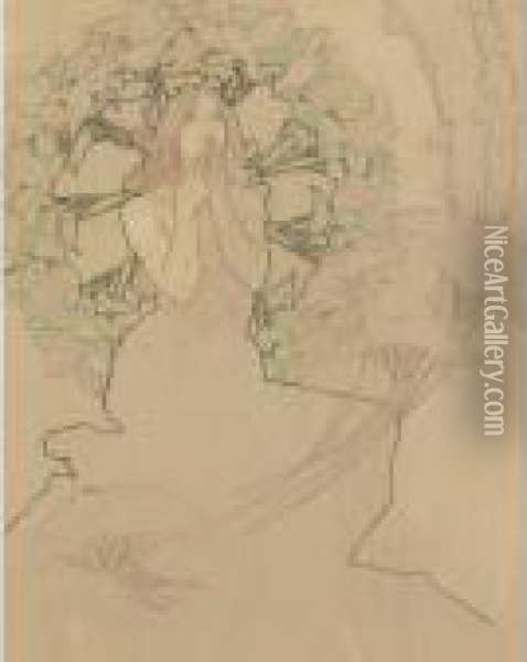 Study For Poster Monaco-monte Carlo Oil Painting - Alphonse Maria Mucha