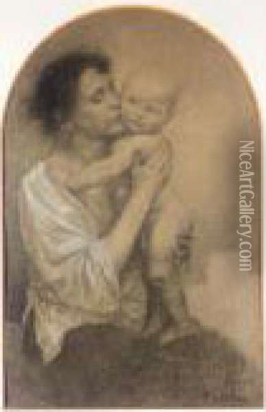 Mother And Child Oil Painting - Alphonse Maria Mucha