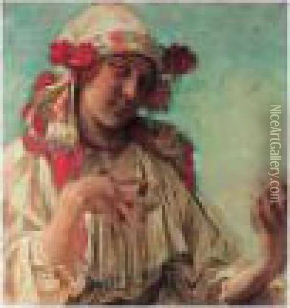Young Girl In Moravian Costume Oil Painting - Alphonse Maria Mucha