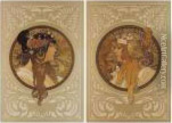 Tete Byzantine - Brunette; And Tete Byzantine - Blonde (academy Editions P.15a; And 16a) Oil Painting - Alphonse Maria Mucha