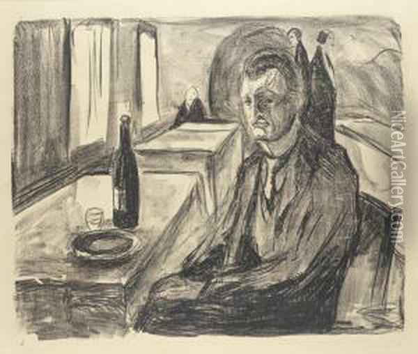 Self-portrait With A Bottle Of Wine Oil Painting - Edvard Munch