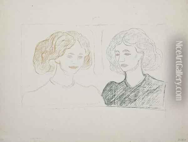 Two Female Heads Against The Moon Oil Painting - Edvard Munch