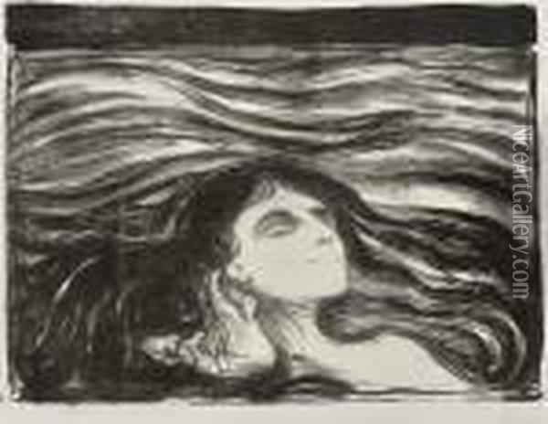 On The Waves Of Love Oil Painting - Edvard Munch