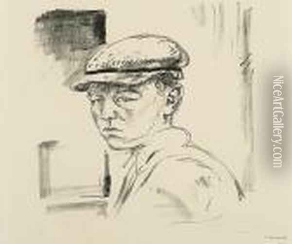 Jarl Young Boy With Peaked Cap Oil Painting - Edvard Munch