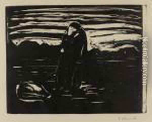 Kiss In The Field Oil Painting - Edvard Munch