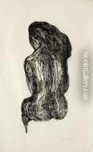 Seated Nude Oil Painting - Edvard Munch