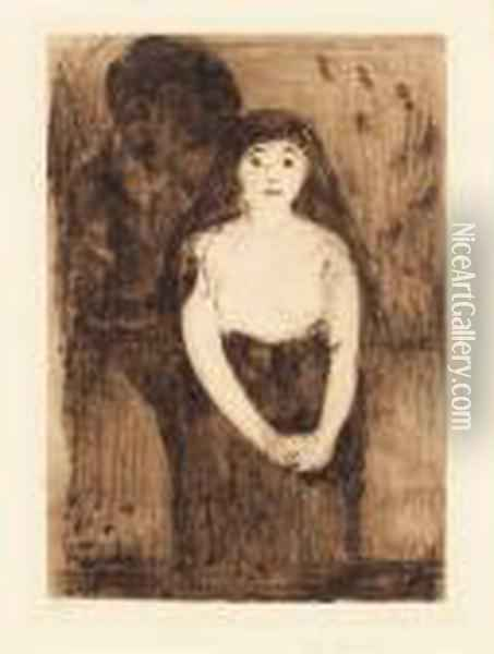 Study Of A Model Oil Painting - Edvard Munch