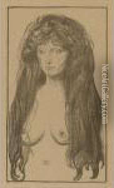 Woman With Red Hair And Green Eyes: The Sin Oil Painting - Edvard Munch