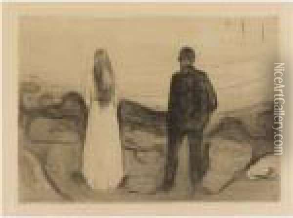 The Two Human Beings. The Lonely Ones Oil Painting - Edvard Munch