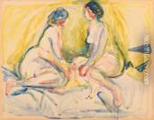 Two Nudes Oil Painting - Edvard Munch