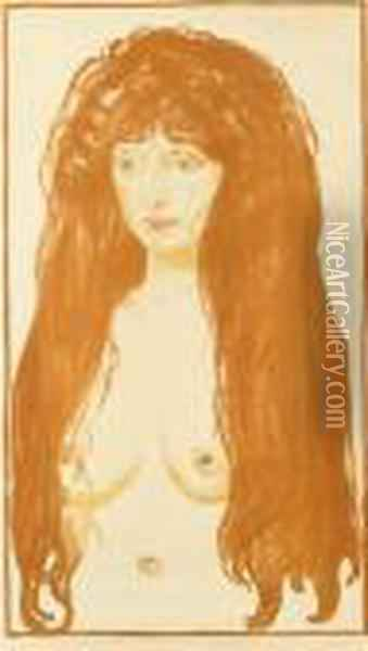 Woman With Red Hair And Green Eyes. The Sin Oil Painting - Edvard Munch