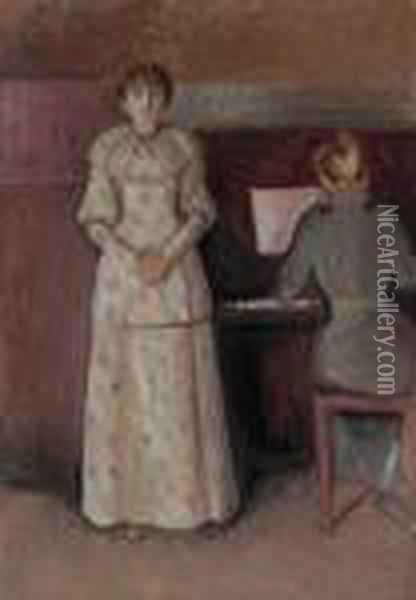 Ragnhild And Dagny Juel Oil Painting - Edvard Munch