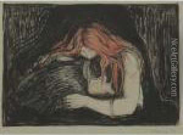 Vampire Oil Painting - Edvard Munch