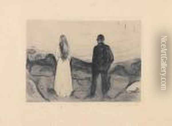 Two Human Beings, The Lonely Ones Oil Painting - Edvard Munch