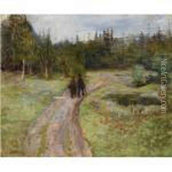 To Pa Vei Mot Skogen (couple On The Path To The Forest) Oil Painting - Edvard Munch