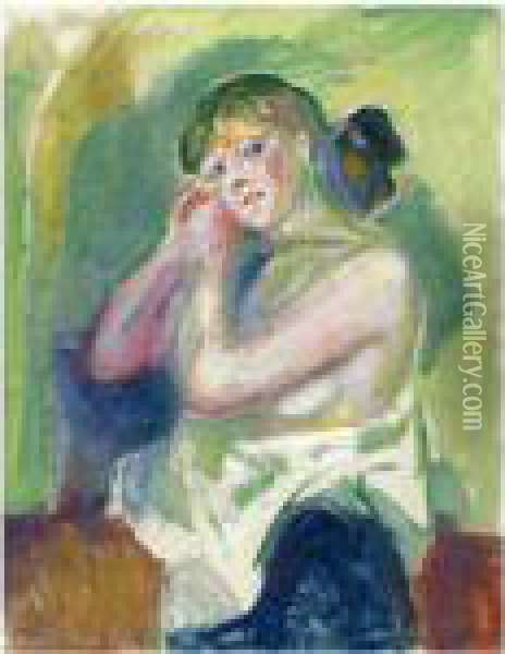 Halvakt (nude Half Figure) Oil Painting - Edvard Munch